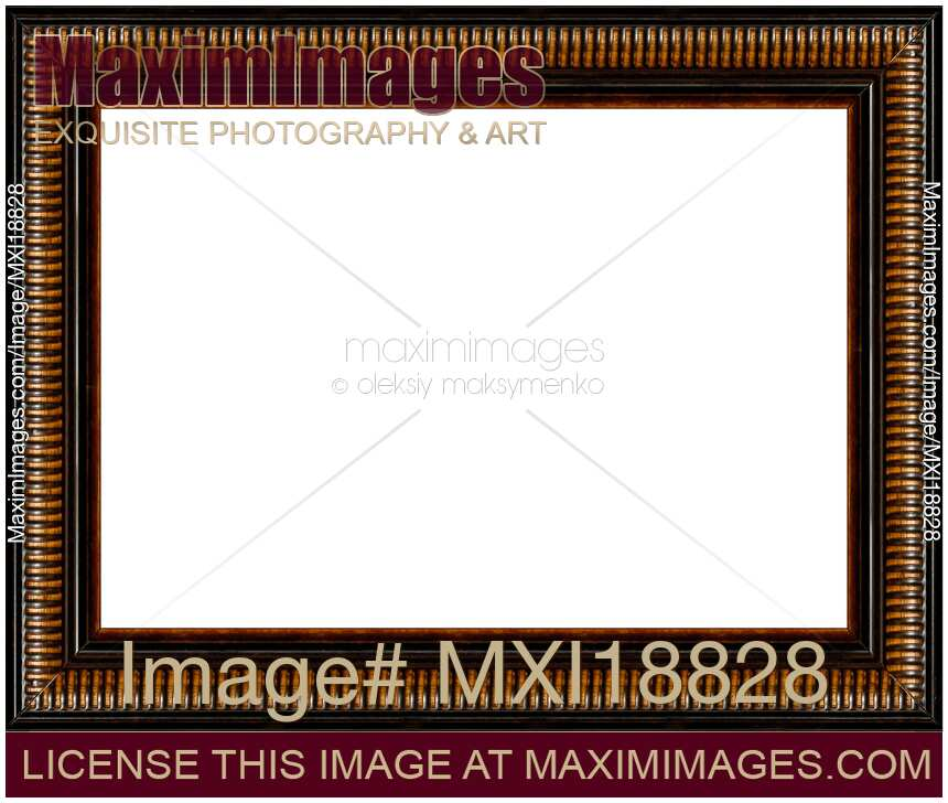 Stock Photo Antique Rustic Black Wooden Picture Frame Isolated Maximimages Image Mxi18828