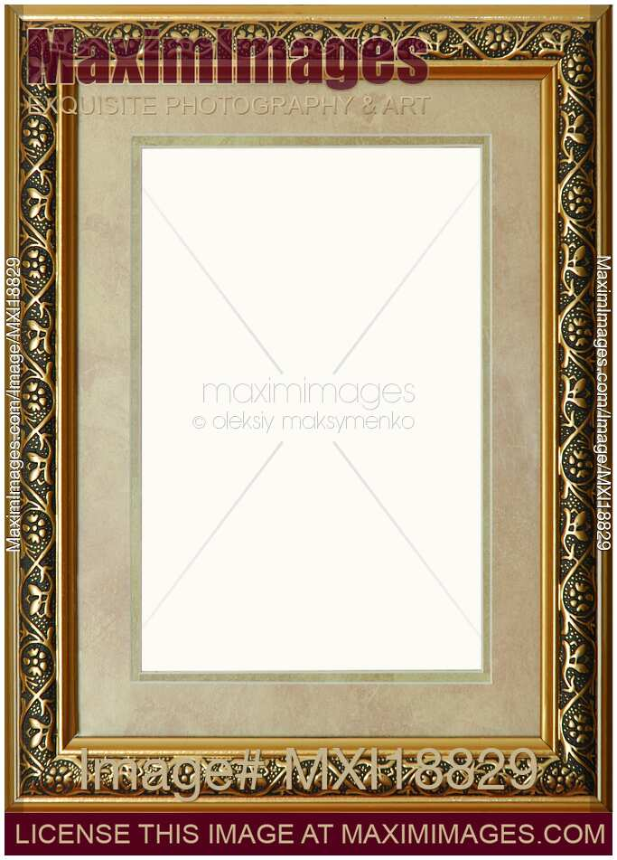 Stock photo: Antique rustic golden picture frame with mat | MaximImages