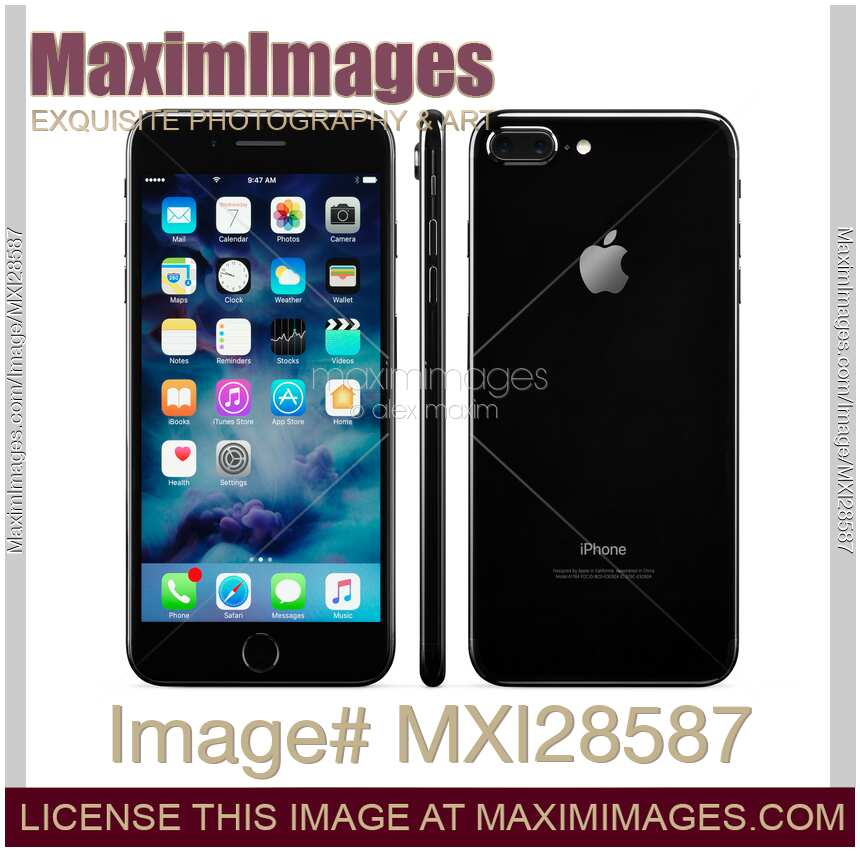 stock photo apple iphone 7 plus front side and back view