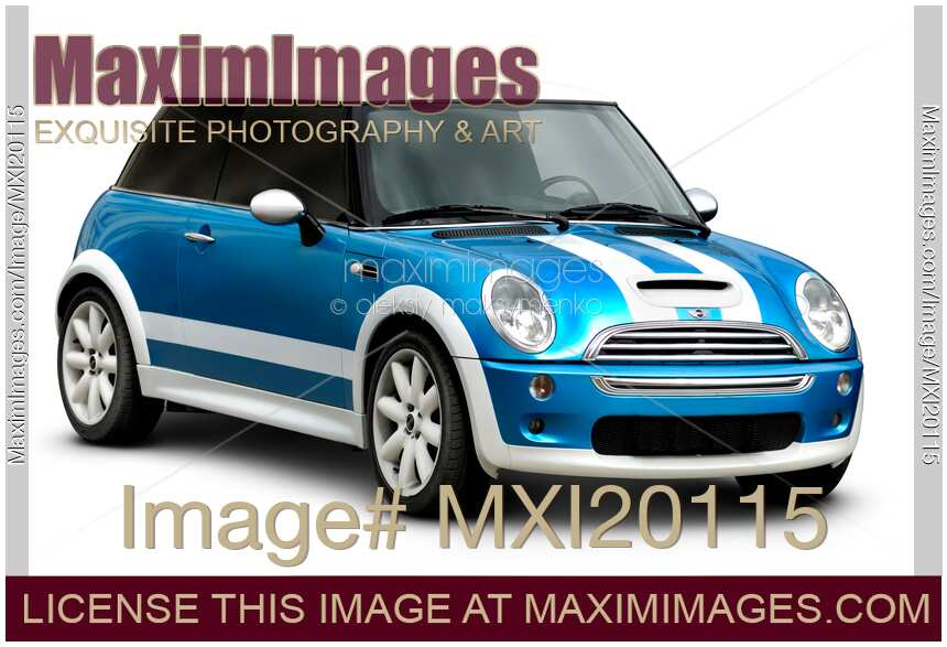 Blue Mini Cooper With White Stripes Isolated City Car On Background A Clipping Path