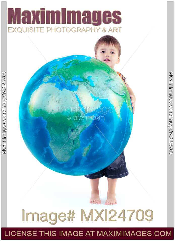 Stock photo of Child holding world globe in hands