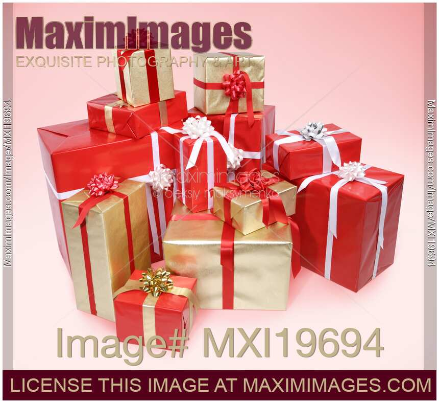 Stock Photo Of Christmas Gifts Pile Presents