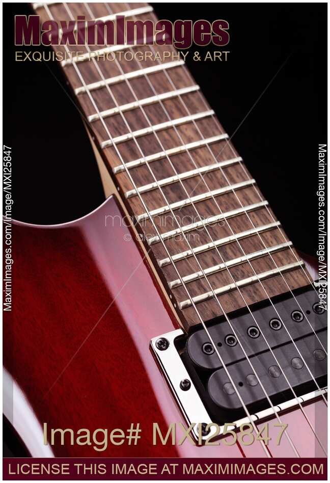 stock photo closeup of electric guitar neck and strings maximimages. Black Bedroom Furniture Sets. Home Design Ideas
