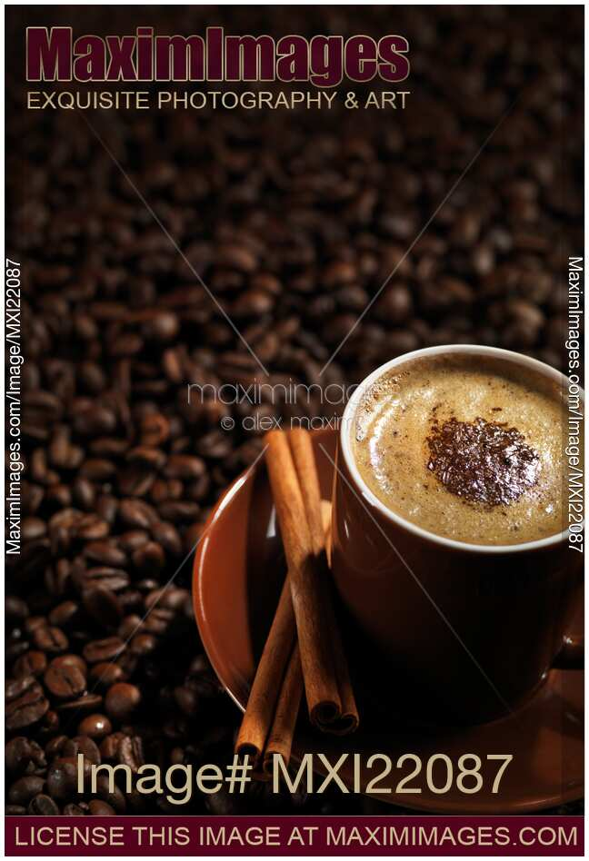 Stock photo: Cup of Coffe Latte on Coffee Beans | MaximImages