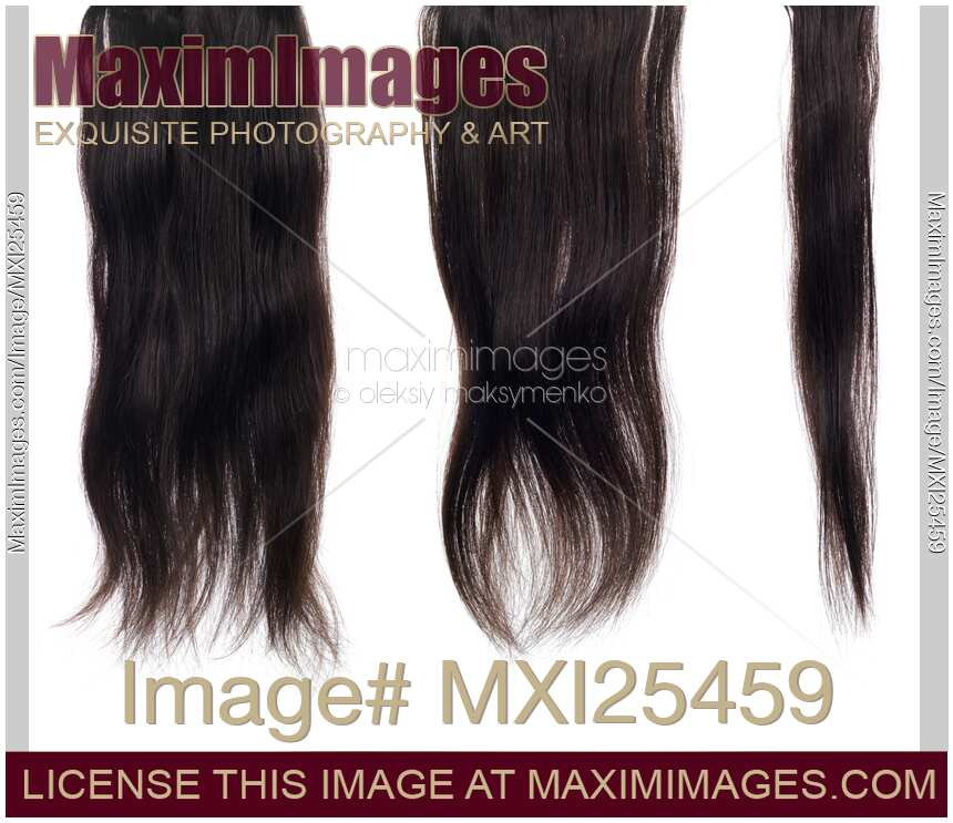 Stock Photo Dark Brown Hair Extensions Strands Isolated Texture