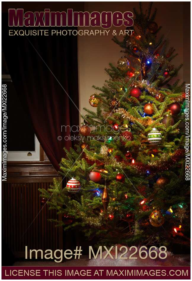 stock photo of decorated christmas tree - Indoor Decorative Christmas Trees