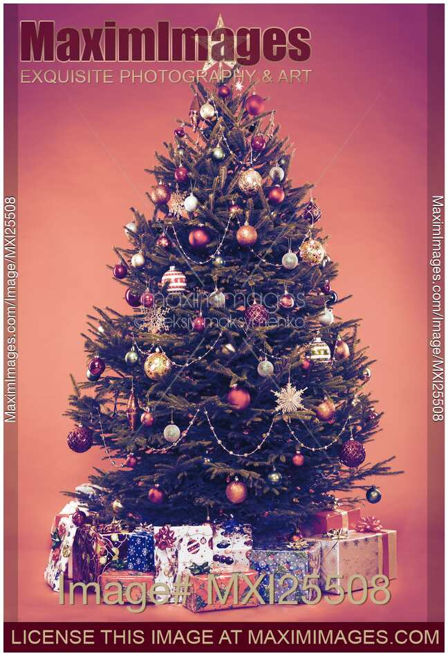 Photo Decorated Vintage Christmas Tree With Presents Under It