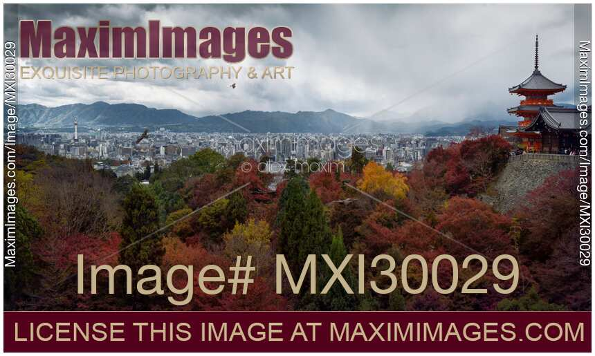 Stock photo of Dramatic panorama of Kyoto city in autumn scenery and Kiyomizu-dera Sanjunoto pagoda