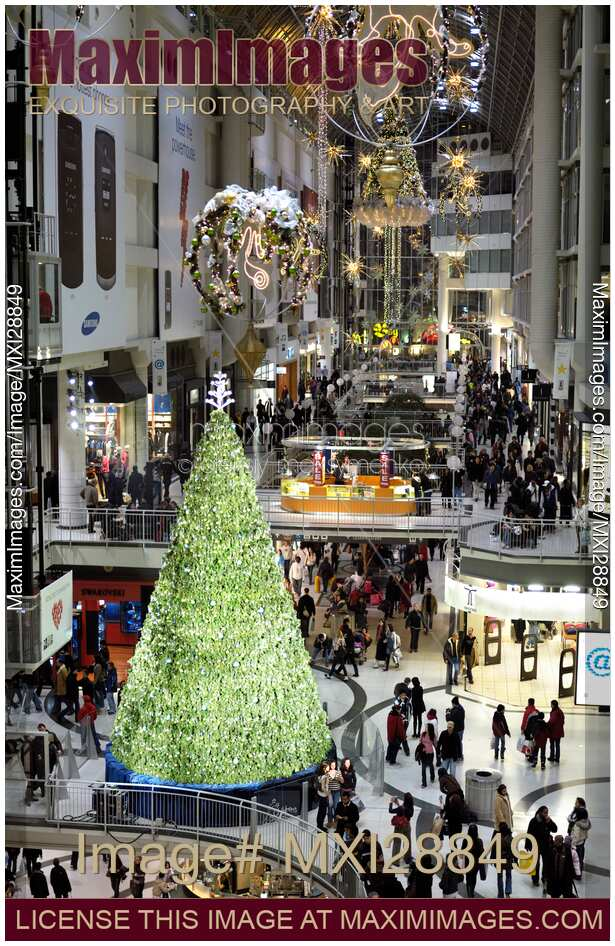 stock photo of eaton centre shopping mall in toronto with christmas decoration - Mall Of America Christmas Decorations