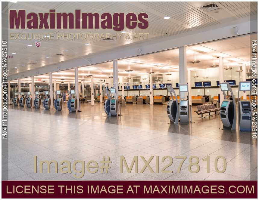 Photo of Electronic check-in kiosks at an airport  Stock Image MXI27810