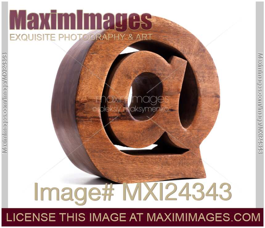 Stock Photo Email Symbol At Made Of Wood Maximimages Image