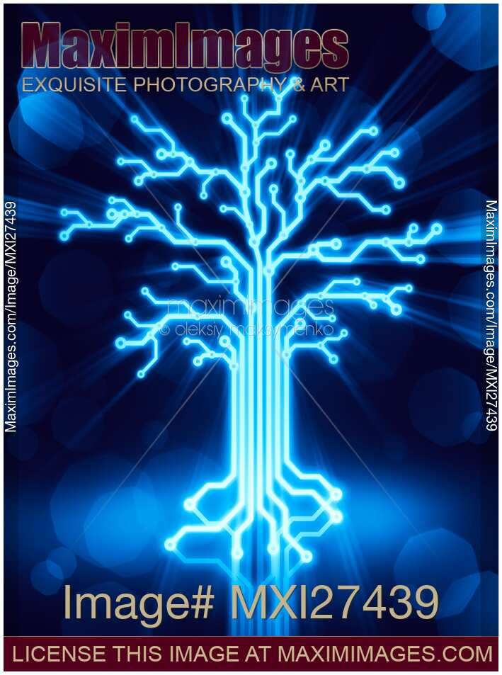 Image Of Glowing Digital Tree Circuits Concept