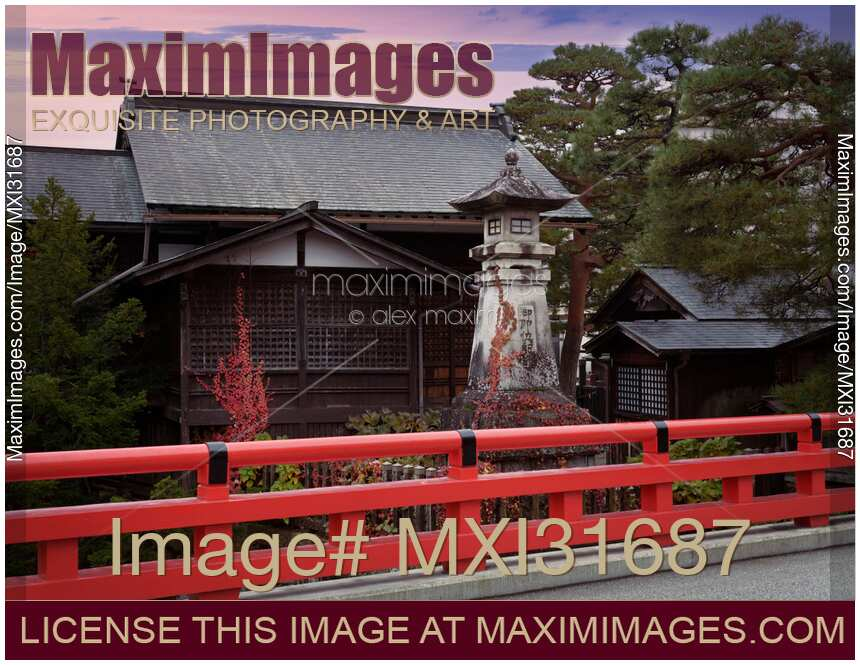Hie Shinto Shrine and a red bridge artistic scenery in Takayama