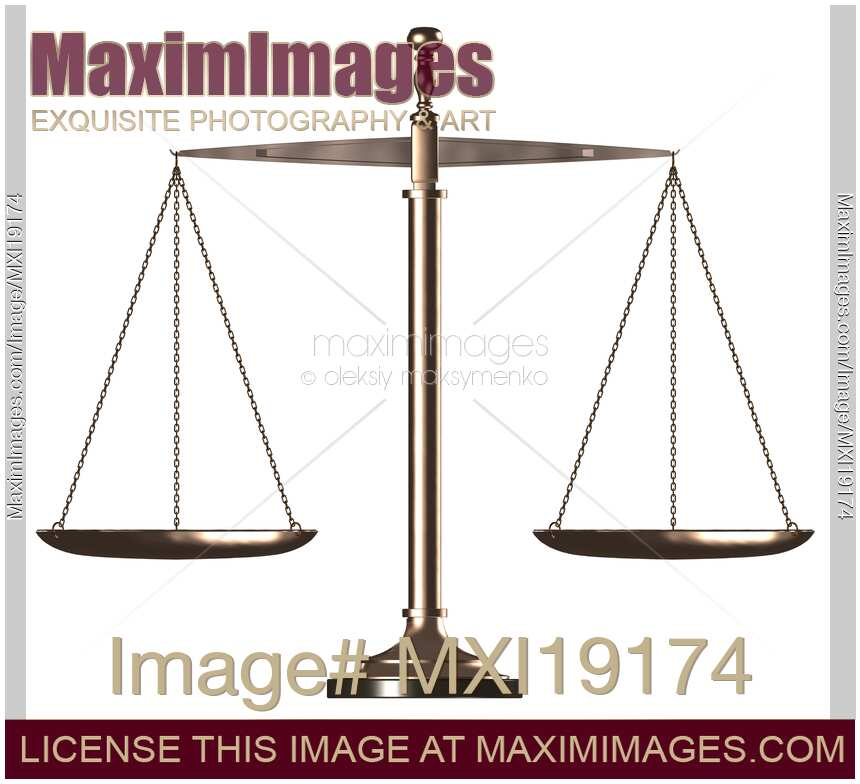 Stock Illustration Balanced Scales Law And Justice Symbol Maximimages