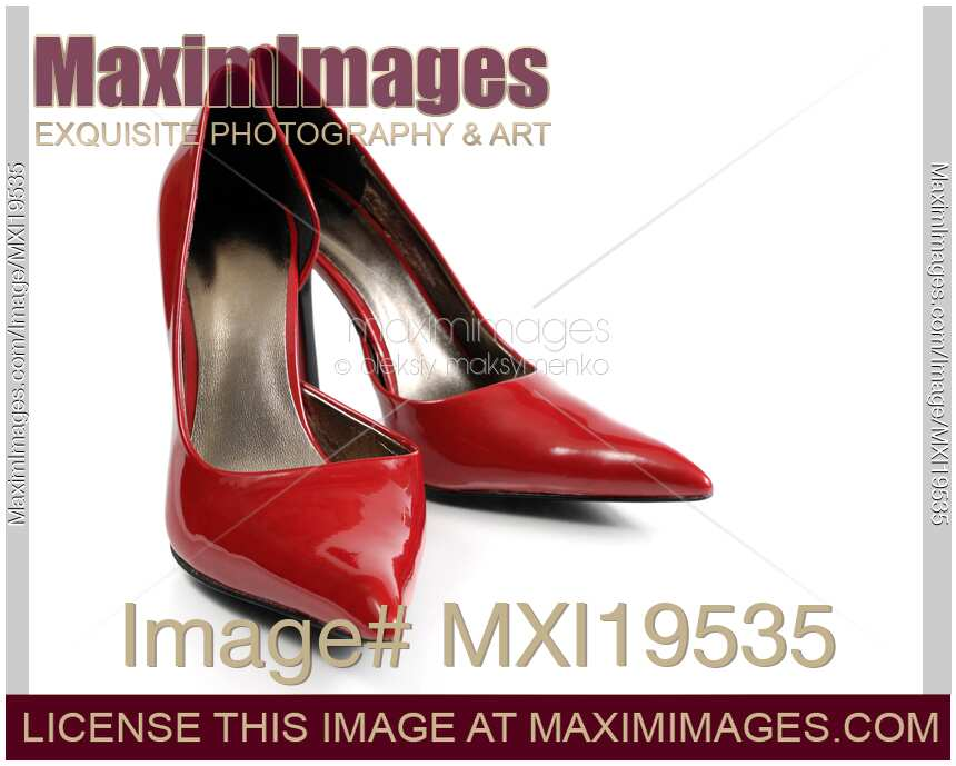 Stock photo of Red sexy high heel womens shoes closeup isolated on
