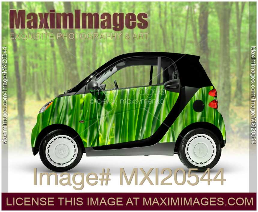 Green fuel efficient city mini car 2008 smart fortwo on nature