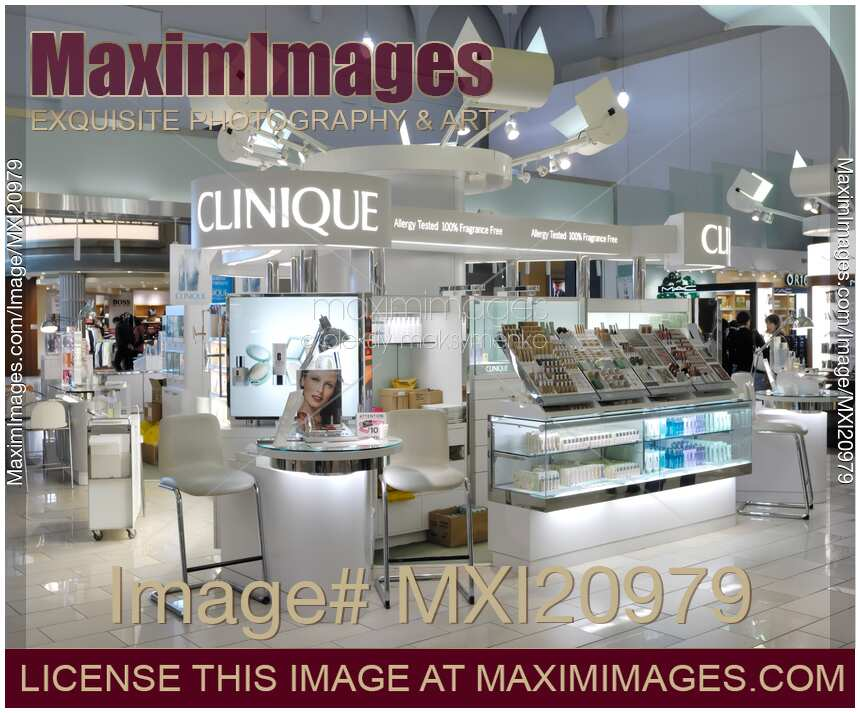 Stock photo of Clinique Cosmetics Display in a Mall