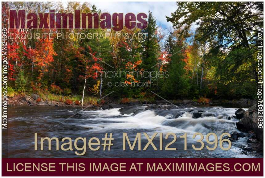 Stock photo of Oxtongue river Ontario Autumn Scenery