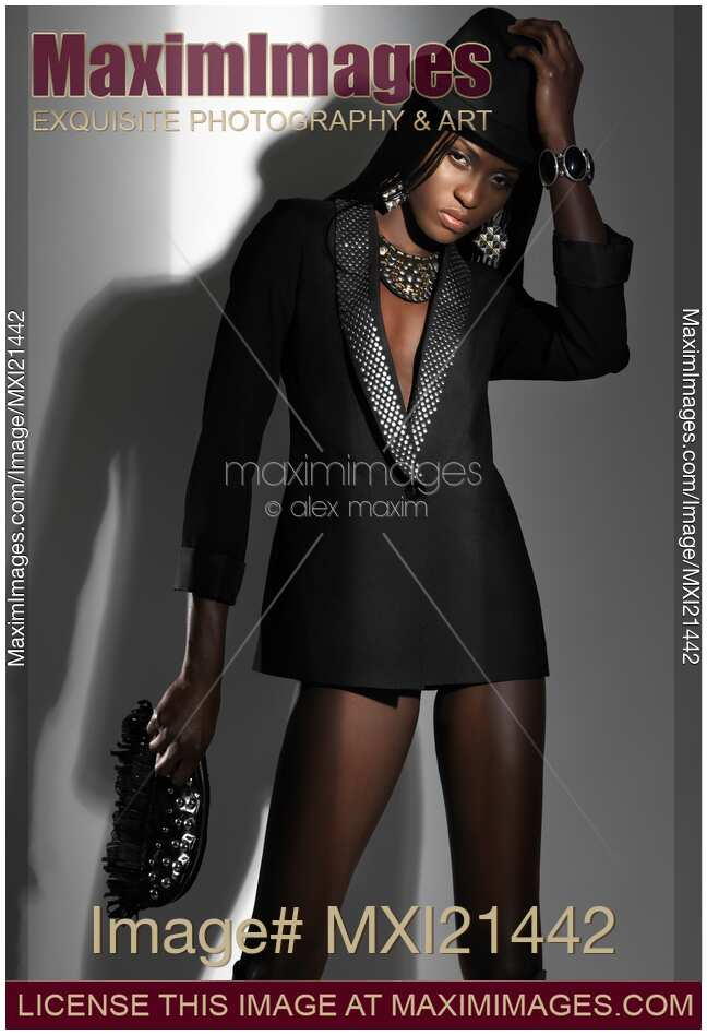 stock photo of woman in sexy black outfit high fashion photo keywords ...
