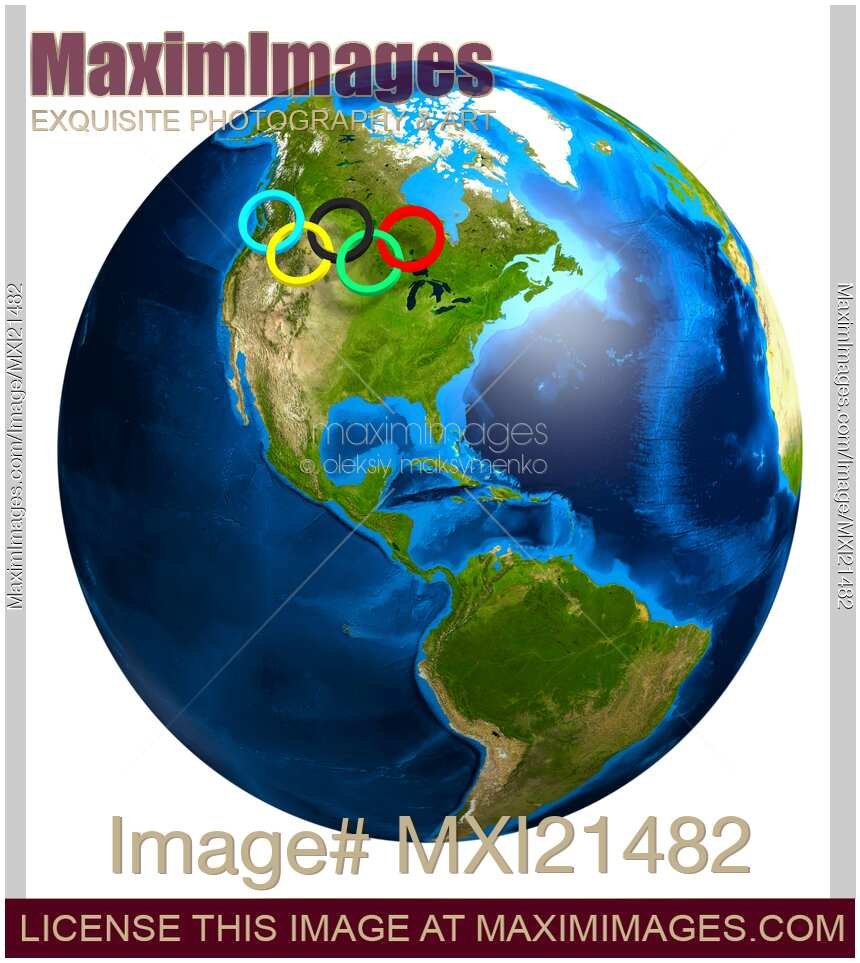 Stock illustration of Olympic Rings over Canada