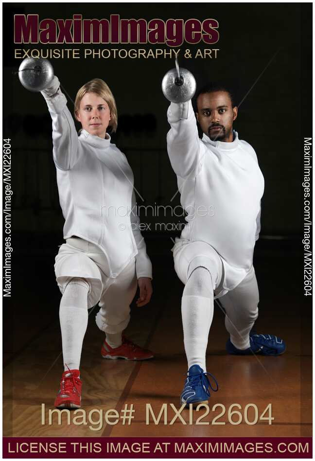 Stock photo: Two Fencers in Fencing Uniform | MaximImages