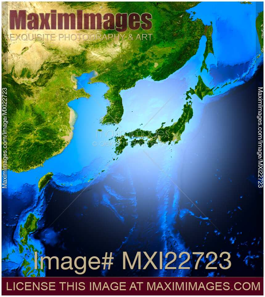 Simulated satellite view of part of the earth from space world map stock illustration space view on japan maximimages world map space view gumiabroncs Choice Image