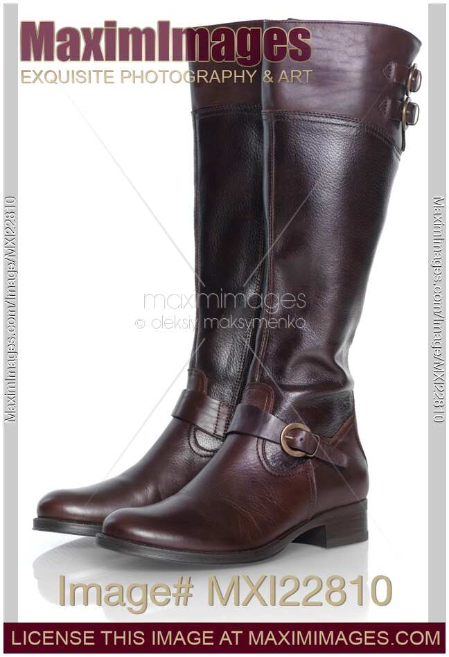 stock photo pair of knee length brown leather boots