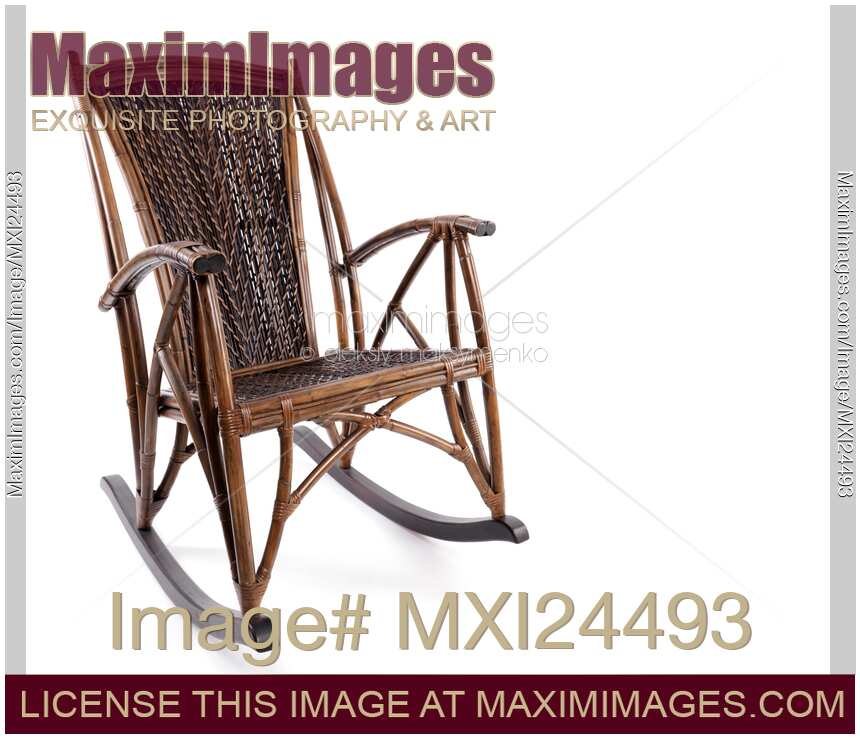Antique wicker rocking chair isolated on white antique wooden wicker