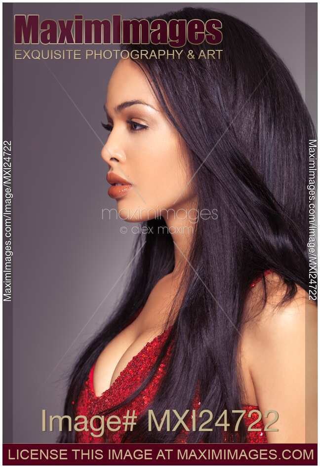 Stock photo: Profile portrait of beautiful woman with long ...