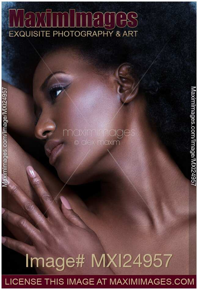 Stock photo of Beautiful black woman sensual face portrait