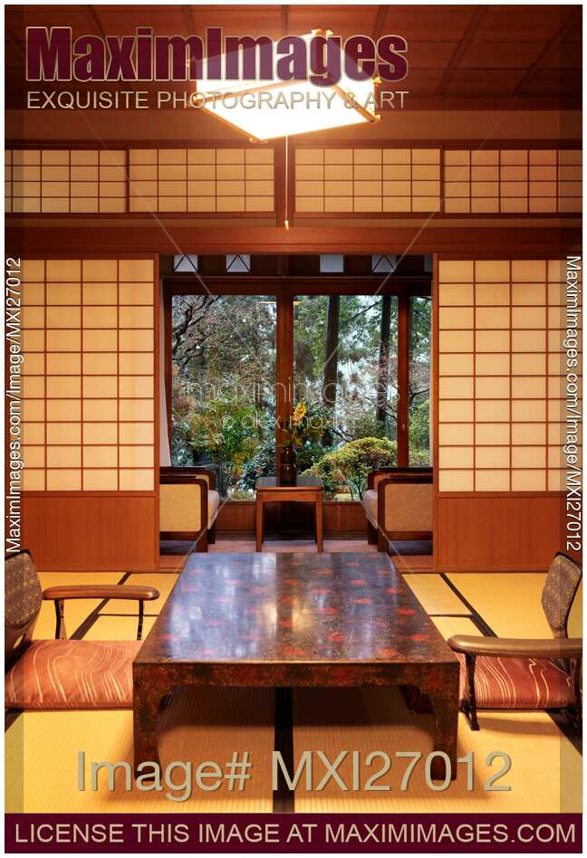 Stock photo room in traditional japanese ryokan with for Japanese garden room