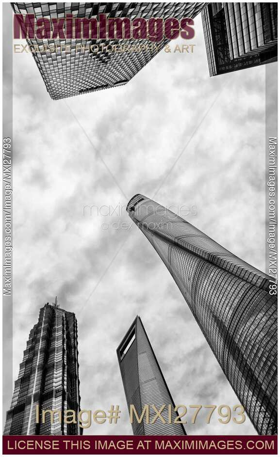 Stock photo pudong shanghai modern architecture abstract for Modern black and white photography