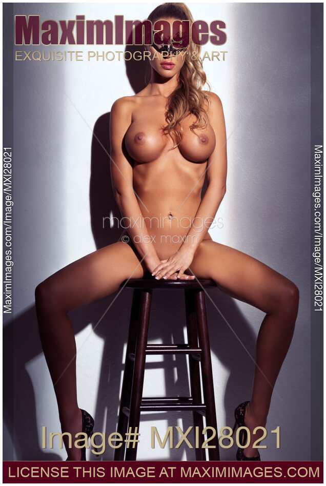 Stool nude sexy girl Stock photo of Sexy nude woman wearing a mask sitting on a stool naked ...