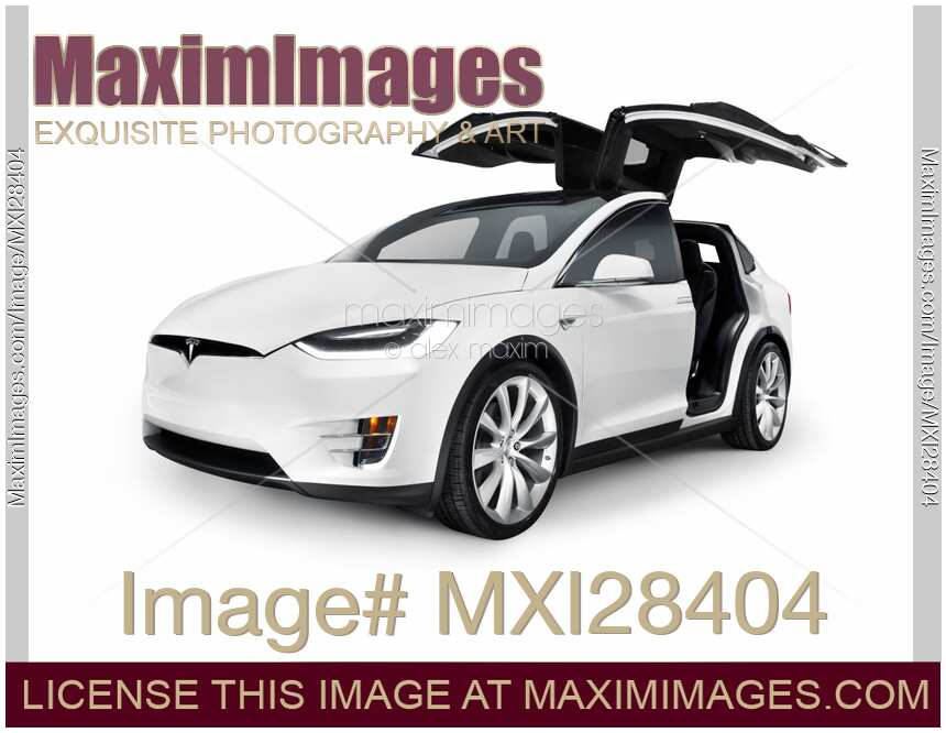 stock photo white 2017 tesla model x luxury suv electric car with open falcon wing doors. Black Bedroom Furniture Sets. Home Design Ideas