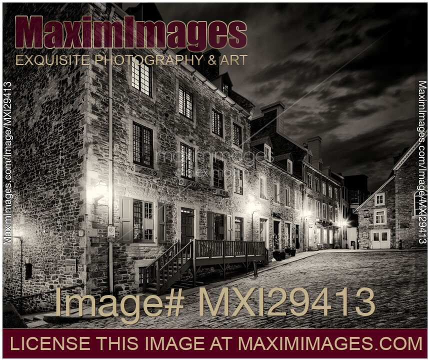 Stock photo of old quebec city place royale beautiful historic french architecture black and white