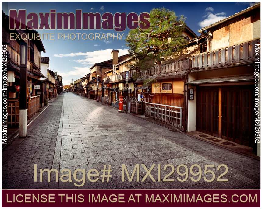 Stock photo of Empty Hanamikoji Dori street in Gion district in the morning Kyoto Japan
