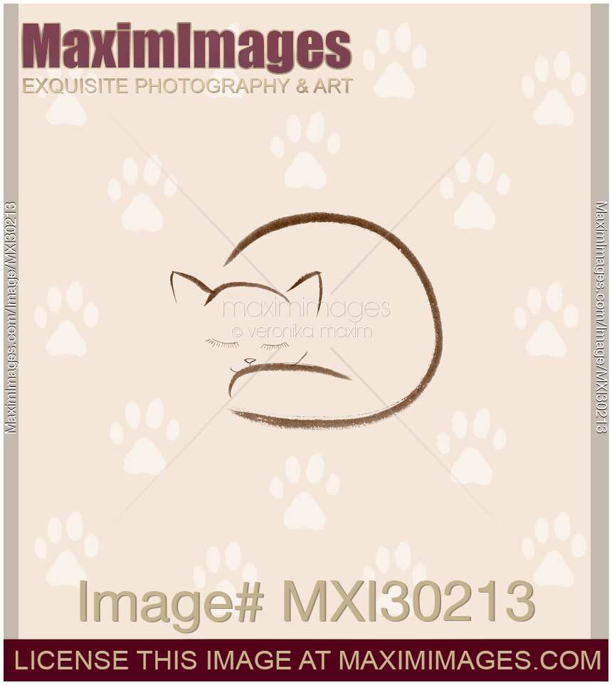 Cute snuggled sleeping cat artistic illustration with paw prints on beige background