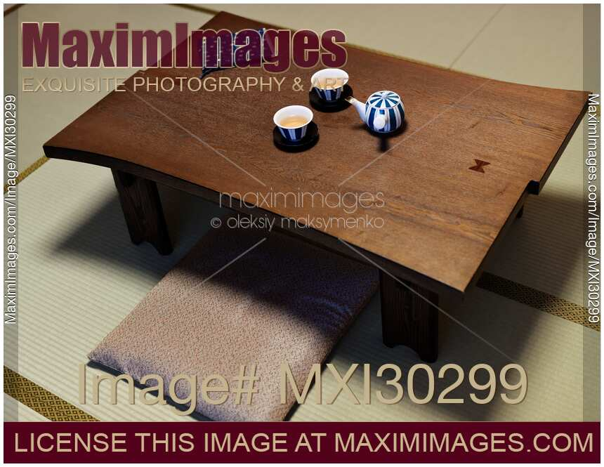 Stock Photo Of Japanese Tea Table Chabudai With Tea On It In A Traditional  Room Of A Ryokan