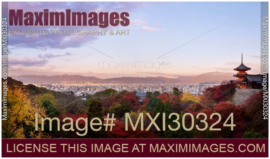 Sanjunoto Sanju-no-to pagoda Kiyomizu-dera in Kyoto beautiful panoramic sunrise autumn scenery