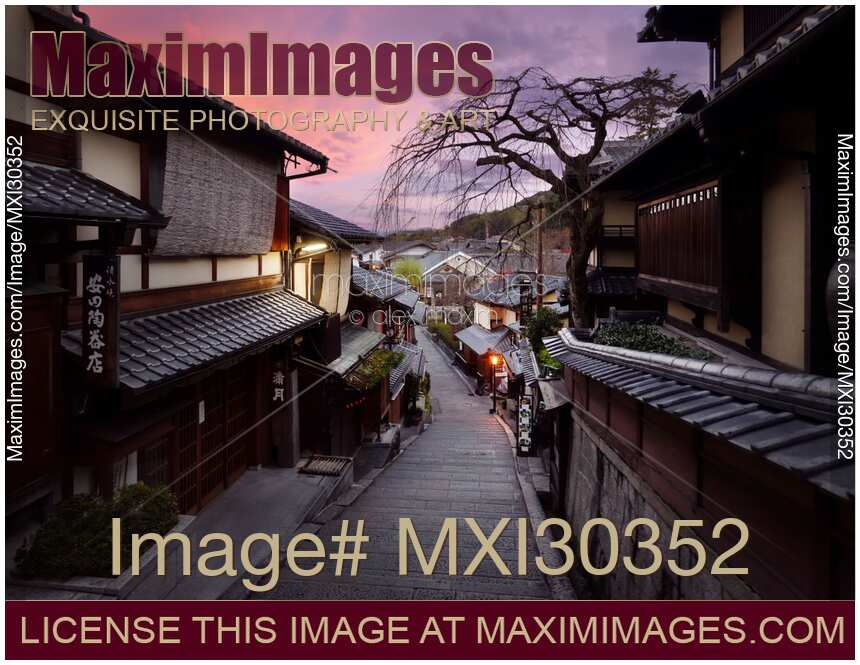 Beautiful sunrise scenery of Yasaka dori historic street in Kyoto empty and quiet in early morning