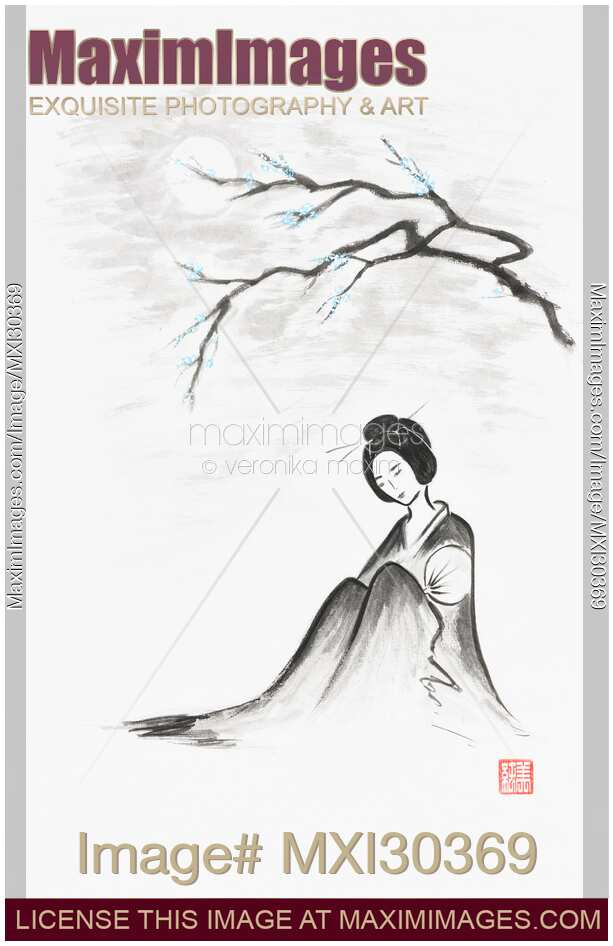 Geisha sitting under sakura branch in the moonlight Japanese Zen Sumi-e painting on white rice paper