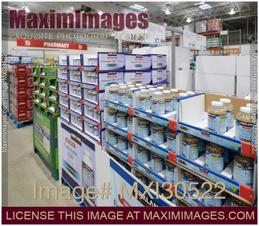 Vitamins and food supplements at Costco Wholesale warehouse store pharmacy