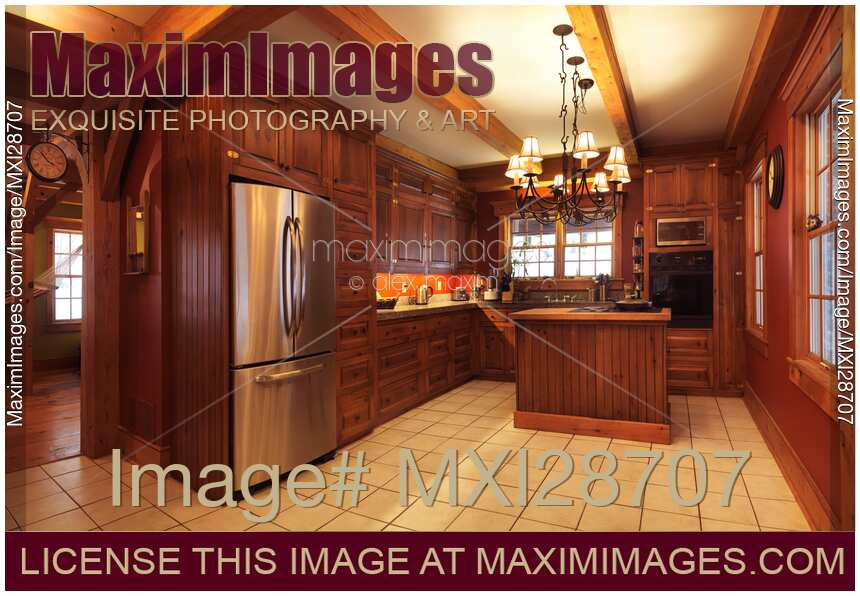 Stock Photo Of Kitchen Interior Timber Frame Canadian House