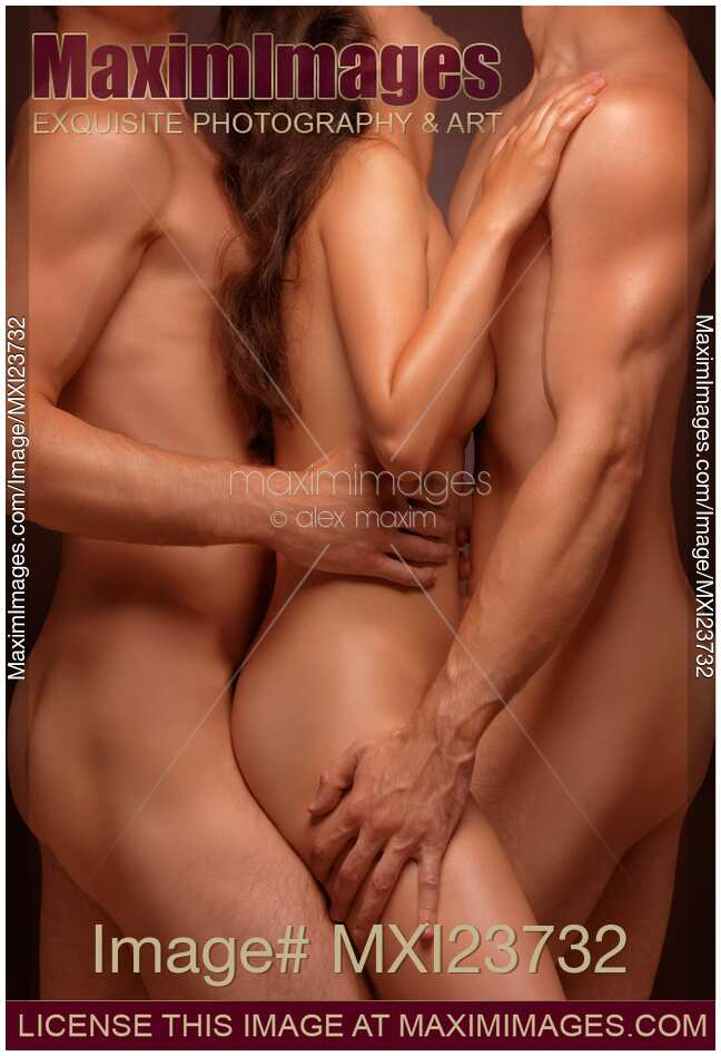 Stock photo of Naked Woman and Two Men