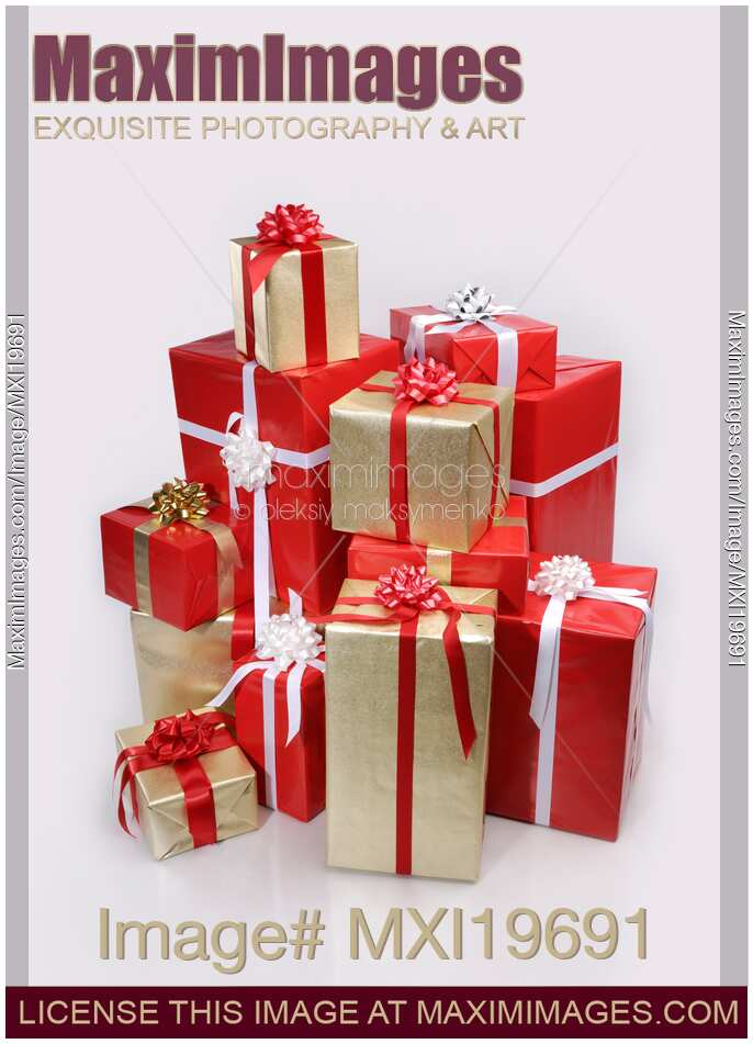 Christmas Boxes.Photo Of Pile Of Boxes Christmas Presents Stock Image Mxi19691