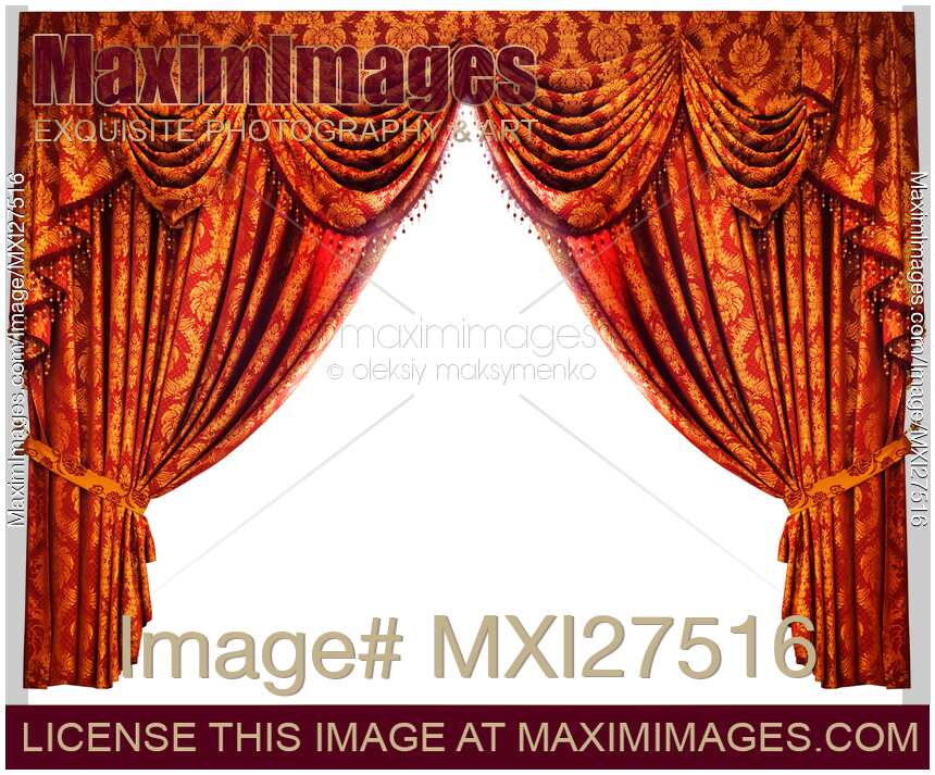 Stock Photo Of Red Gold Drapes Curtains Isolated