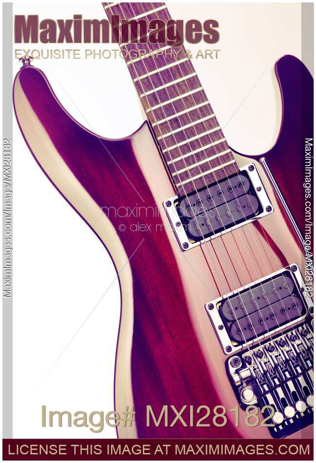 Stock Photo Red Ibanez Electric Guitar Closeup On White