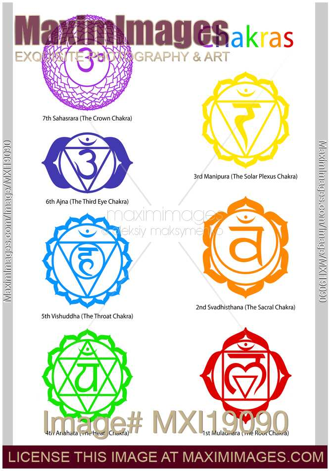 Stock Illustration Seven Chakra Symbols Maximimages Image Mxi19090