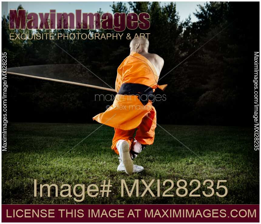 Shaolin Monk Training With A Bo Staff Stock Vector Art – Quotes of