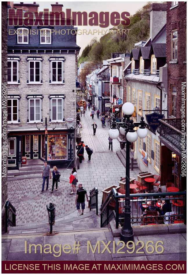 Stock Photo Shops And Restaurants On Historic Streets Of Old Quebec